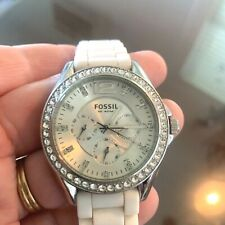 Fossil Ladies' Silicone Comfort Band Multifunction Watch White NEW BATTERY