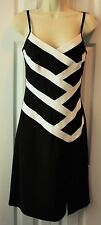 JOSEPH RIBKOFF Size 6 Dress BLACK AND WHITE Sleeveless Sheath