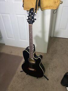 IBANEZ TALMAN TCY10-BK Acoustic-Electric Guitar BLACK STRAT SHAPE Active EQ