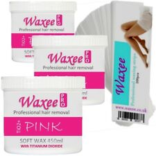 3 pot WAX 450ml+ 100 HIGH QUALITY STRIPS. Professional hair removal waxing Waxee