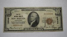 $10 1929 New Britain Connecticut CT National Currency Bank Note Bill #12846 FINE