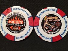 "Harley Golf Ball Marker Poker Chip White/Red/Blue PAINTED ""Caliente"" San Antonio"