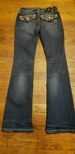 """Buckle MISS ME Juniors Size 14 Mid Rise Boot Embellished Jeans 27"""" Waist"""