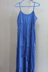 Motherhood Womens M Blue Rayon Dress Maxi Spaghetti Strap 3 Tier Skirt Sun Tie