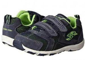 NIB STRIDE RITE Athletic Shoes Kingston Navy Blue Lime Green 5 M
