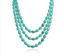 TreasureBay Stunning Three-Strand Turquoise Gemstone Beaded Necklace