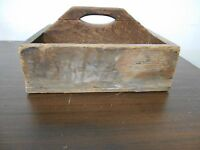 EARLY ANTIQUE PRIMITIVE GRUNGY WOOD WOODEN TOTE