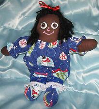 JKW Primitive Handmade CHRISTMAS Snowman Black Raggedy Ann Folk Art Cloth DOLL