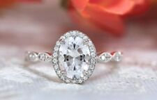 1.95 Ct Moissanite Oval Cut Antique Halo Engagement Ring In 9K White Gold