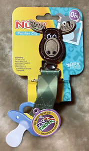 Nuby Pacifier Clip Moose Baby Pacifier Clip Newborn Accessory NEW So Cute!