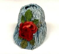 Vintage Doll Hat Blue Straw with Red Rose Small Miniature 1950's