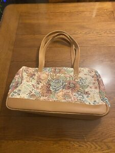 Tapestry Floral Carpetbagger Tote Travel Bag LNWOT