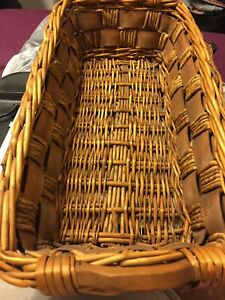 """Hand Woven Long Wicker Storage Basket with Wood Handles 23""""x12""""x5"""" Brown"""