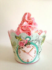 12 x cupcake wrappers Alice In Wonderland cake wrap Party birthday baby shower
