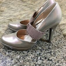 Gabriella Rocha Sz 8.5 M Tan / Gold Pewter Patent Mary Jane Strap Pumps Heels