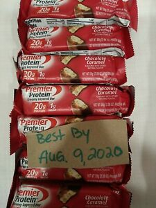 40- Premier Protein Bar Chocolate Caramel 20g Protein/1g Sugar BB 08/09/2020