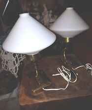 50s, TABLE LAMPS  STILNOVO 50s MID CENTURY  BRASS AND OPALINE GLASSES
