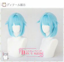 Anime Ensemble Stars Shino Hajime Cosplay Wig Blue Short Hair + Wig Cap Party
