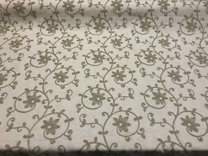 25 Yard Roll Everett Linen Floral Embroidered Fabric