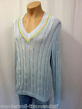 NEU PETER SCOTT Scotland  Designer Pullover Gr.56 Zopfmuster Baumwolle Blau