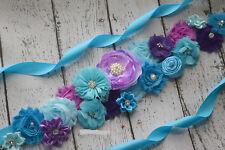Flower Sash,turquoise, purple  Sash , flower Belt, maternity sash, wedding sash