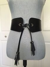 New Ladies Steve Madden Obi Tassel Belt Black Stretch Wide S M Biker $38.