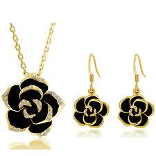Gold & Black Camellia Flower Jewellery Set Drop Earrings & Necklace Pendant S717