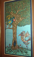 Framed Pen Drawing SALLY STEVENS Medium Size NATURE BIRDS WHIMSICAL
