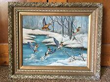 Listed Bolivian Artist A. Sotomayor (1902-1985) Oil/Canvas Seasonal Ducks 1959