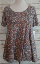 LuLaRoe Perfect T in Gray with Design in Peach Pinks Rose and more XS NWT
