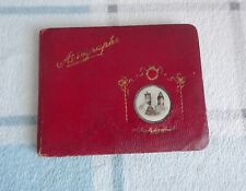 More details for antique early 1900's autograph quote poem book red leather bound with gold gilt