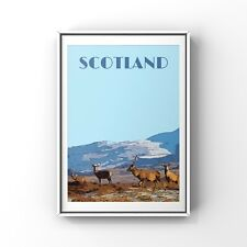 Scottish Travel Poster Print Stags