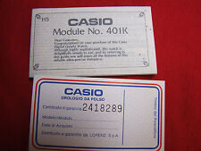 VINTAGE CASIO MODULE NO. 401K USER'S GUIDE/WARRANTY CERTIFICATE