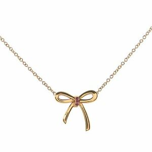 Tiffany & Co. Bow Pendant Necklace 18K Rose Gold with Pink Sapphires Mini