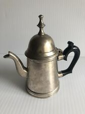 "Vintage Solid Brass Hand Crafted Lidded Tea Or Coffee Pot Holder 5"" Tall - INDIA"