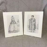 1842 Antico Costume Impronte Elizabethan Moda Tessuto Storia Storico Abito