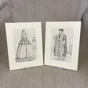 1842 Antique Costume Prints Elizabethan Fashion Textile History Historical Dress