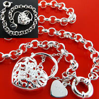 Necklace Bracelet 925 Sterling Silver S/F Solid Belcher Heart Padlock Boltring