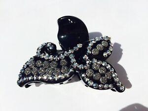 Wedding Hair Grips Black Diamante Hair Clip Claw autumn Leaves UK