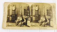 Antique Stereoview CURIOSITY PUNISHED Peeping Tom Caught Victorian Women 1890s