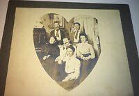 Antique Victorian American Fashion Family, Heart Shaped Portrait! Cabinet Photo!