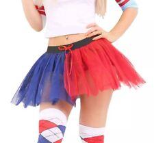 Venditore del Regno Unito 🇬 🇧 Harley Quinn TUTU UK 8-14 Rossa e Blu Gonna Costume