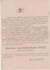 *1891 Faire-part décès Jean-Marie-Henri VIVEZ - Condom (Gers)