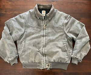 Vintage Carhartt Jacket Stone Grey Faded Distressed USA Quilted Rips Coat Gray