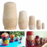 Unpainted DIY Blank Wooden Embryos Russian Nesting Dolls Matryoshka 5PCs