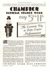1930 Champion Spark Plug Company Toledo Ohio National Change Week May Print Ad