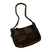 Fossil Brown Leather Woven Handbag Purse Women's EUC Dark Brown