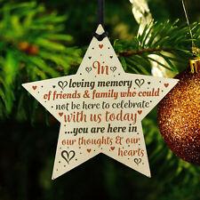 hanging wooden star christmas tree decoration mum nan dad memorial ornament