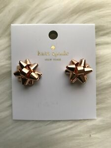 New Kate spade Bourgeois Bow Stud Earrings Rose Gold Great Gift