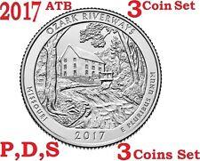 2017 P D S 25C Ozark N Scenic Riverways 3-coin set America the Beautiful Quarter